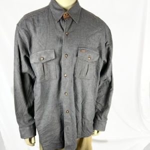 Orvis Flannel Shirt Black Gray Hounds tooth Sz XL